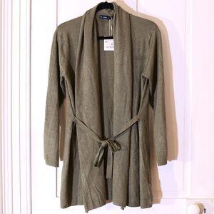 Zara Open Front Knit Tie Waist Shawl Long Cardigan